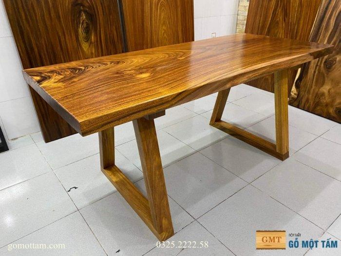 Bàn ăn gỗ me tây, bàn làm việc gỗ me tây nguyên tấm dài 1,65 x 70 x 50