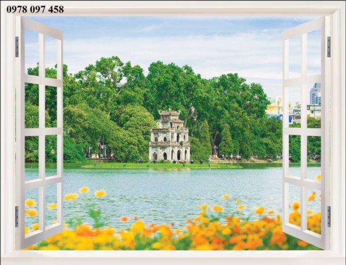 Tranh 3D - tranh khung cửa sổ1