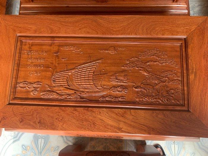 Bộ Bàn ghế tần thuỷ hoàng cột liền yếm liền gỗ hương đá16