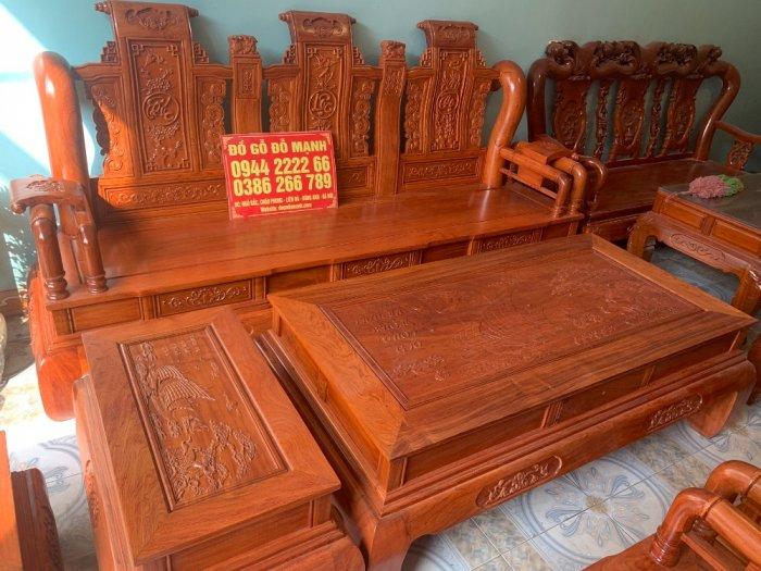 Bộ Bàn ghế tần thuỷ hoàng cột liền yếm liền gỗ hương đá15