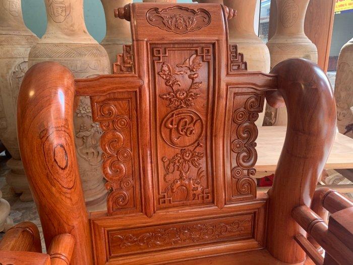 Bộ Bàn ghế tần thuỷ hoàng cột liền yếm liền gỗ hương đá12