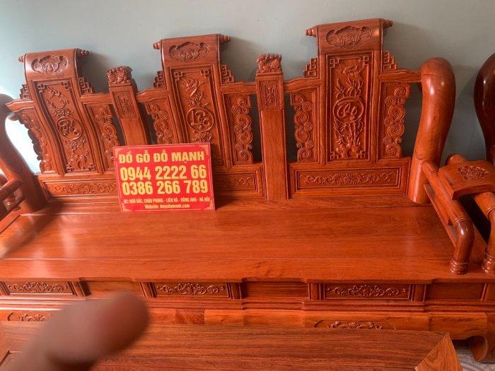 Bộ Bàn ghế tần thuỷ hoàng cột liền yếm liền gỗ hương đá11