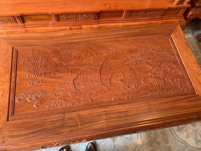 Bộ Bàn ghế tần thuỷ hoàng cột liền yếm liền gỗ hương đá10
