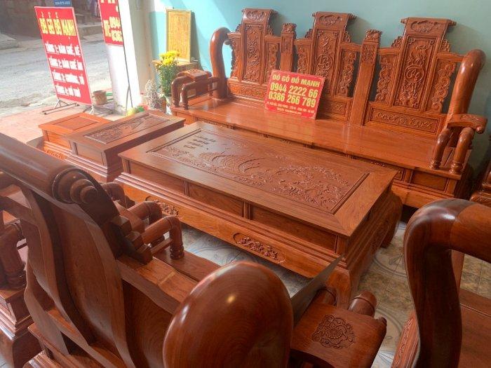 Bộ Bàn ghế tần thuỷ hoàng cột liền yếm liền gỗ hương đá8