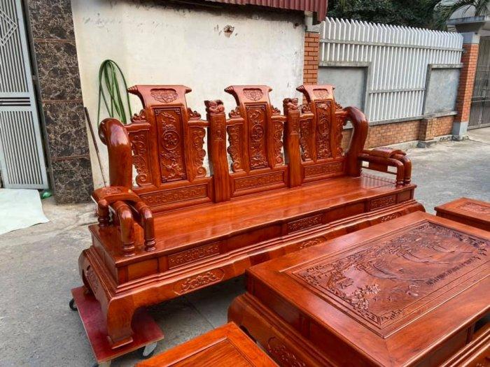 Bộ Bàn ghế tần thuỷ hoàng cột liền yếm liền gỗ hương đá2