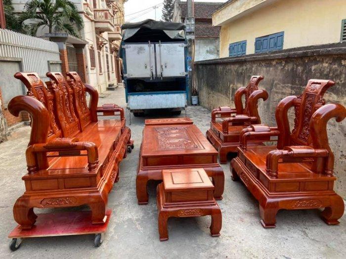 Bộ Bàn ghế tần thuỷ hoàng cột liền yếm liền gỗ hương đá1