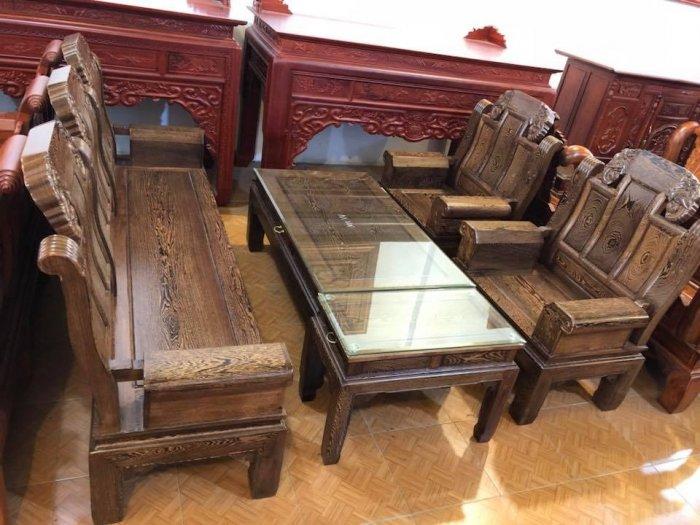 Bộ bàn ghế kiểu như ý hộp gỗ mun đuôi công2