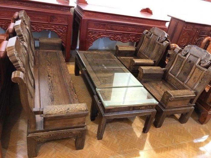 Bộ bàn ghế kiểu như ý hộp gỗ mun đuôi công1