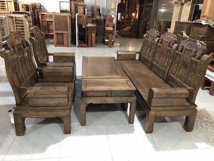Bộ bàn ghế kiểu như ý hộp gỗ mun đuôi công0