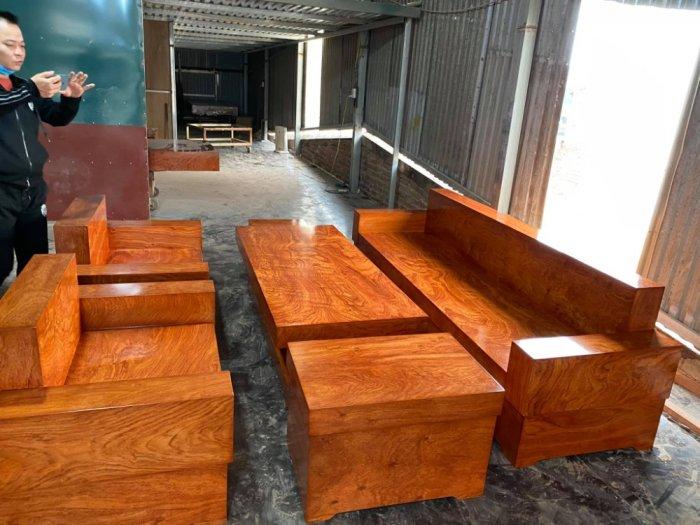 Bộ sofa đối đóng hộp gỗ hương đá1