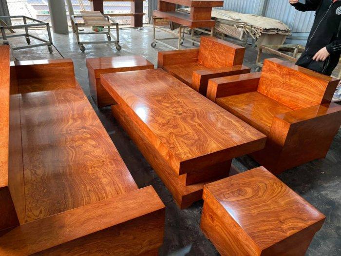 Bộ sofa đối đóng hộp gỗ hương đá0