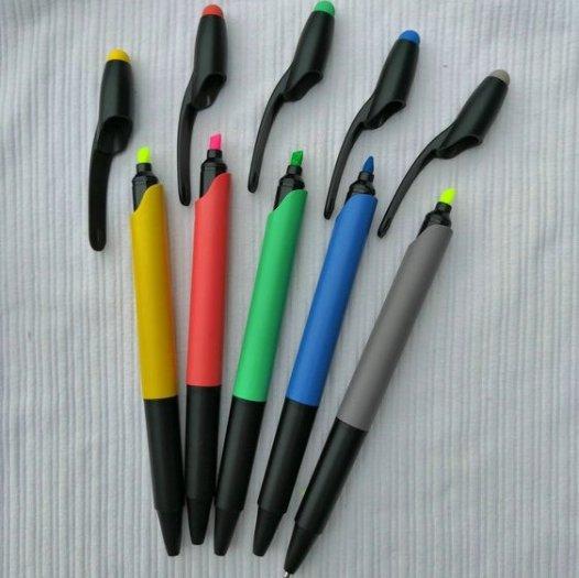 Bút bi có đầu highlight dạ quang in logo8