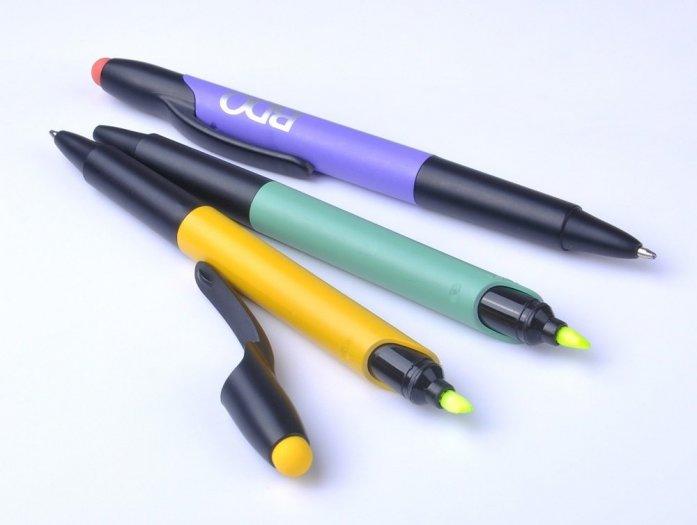 Bút bi có đầu highlight dạ quang in logo6