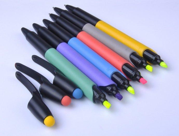 Bút bi có đầu highlight dạ quang in logo3