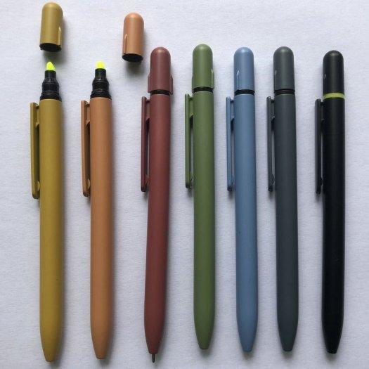 Bút bi có đầu highlight dạ quang in logo1