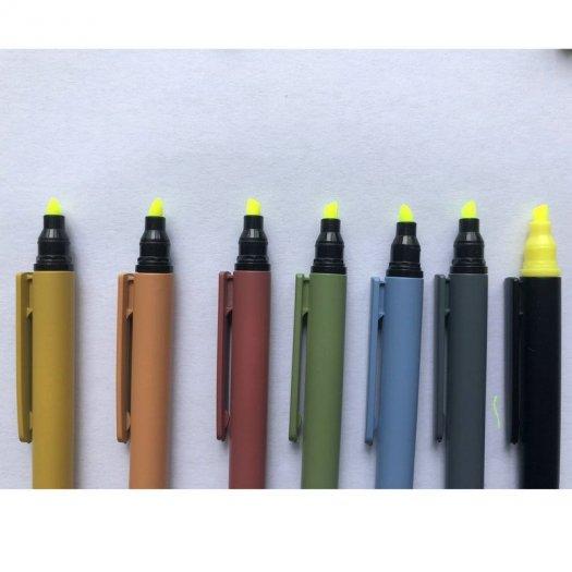 Bút bi có đầu highlight dạ quang in logo0