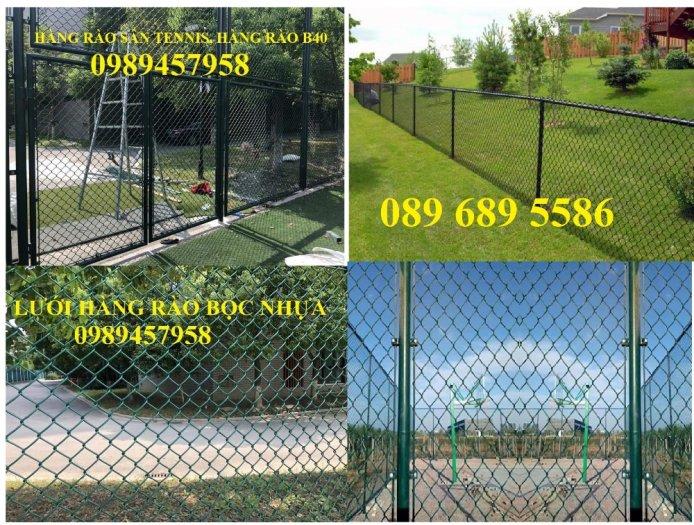 Lưới B40 bọc nhựa mầu xanh, Lưới b40 mầu ghi, Lưới làm sân tennis1