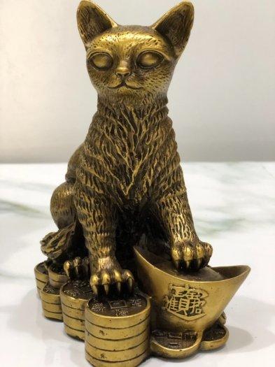 Tượng Mèo ngồi trên kim nguyên bảo (18cm)4