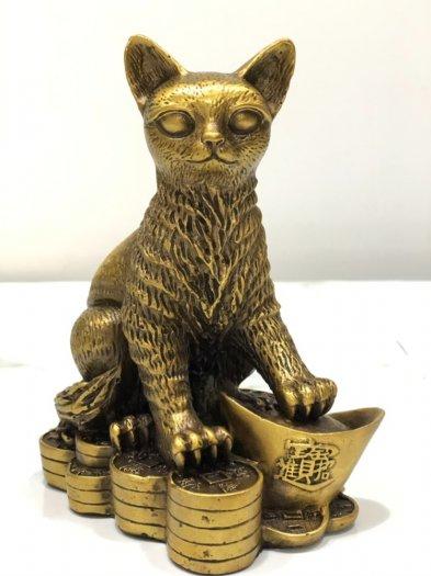Tượng Mèo ngồi trên kim nguyên bảo (18cm)3