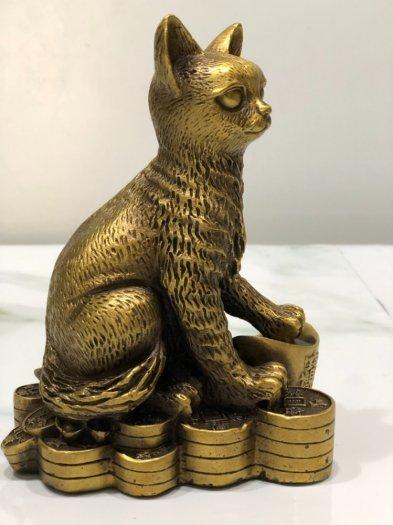 Tượng Mèo ngồi trên kim nguyên bảo (18cm)0