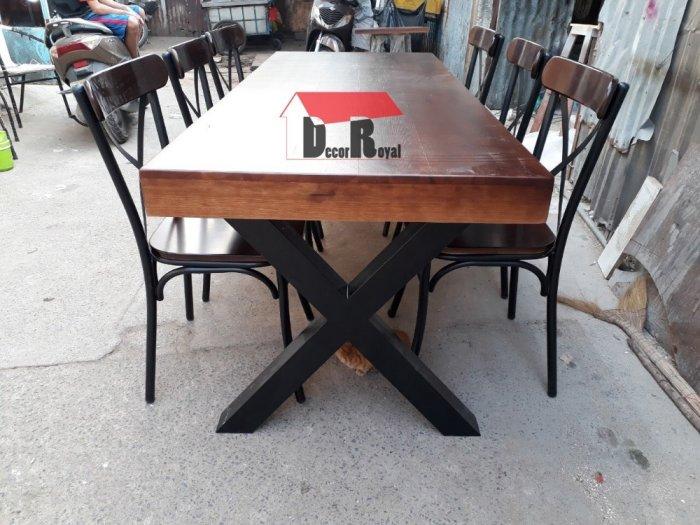 Bàn cafe nhóm chân sắt chữ X6