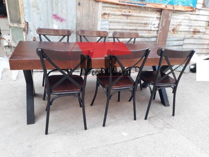 Bàn cafe nhóm chân sắt chữ X4