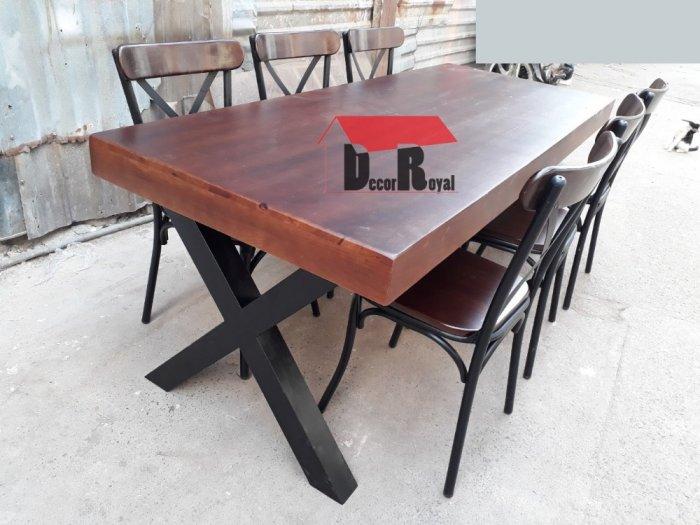 Bàn cafe nhóm chân sắt chữ X3
