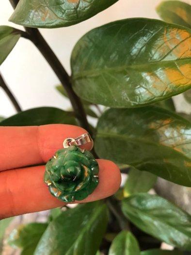 Mặt dây chuyền bông hồng nổi 100% đá cẩm thạch tự nhiên size 19mm x 9mm màu xanh1