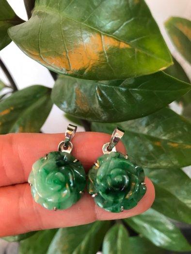 Mặt dây chuyền bông hồng nổi 100% đá cẩm thạch tự nhiên size 19mm x 9mm màu xanh4
