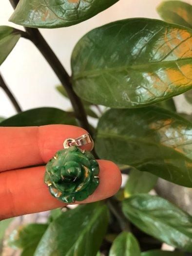 Mặt dây chuyền bông hồng nổi 100% đá cẩm thạch tự nhiên size 19mm x 9mm màu xanh3
