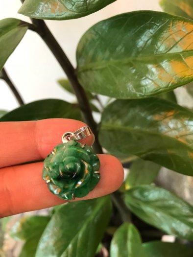 Mặt dây chuyền bông hồng nổi 100% đá cẩm thạch tự nhiên size 19mm x 9mm màu xanh5
