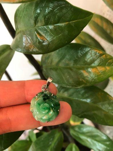 Mặt dây chuyền bông hồng nổi 100% đá cẩm thạch tự nhiên size 19mm x 9mm màu xanh7