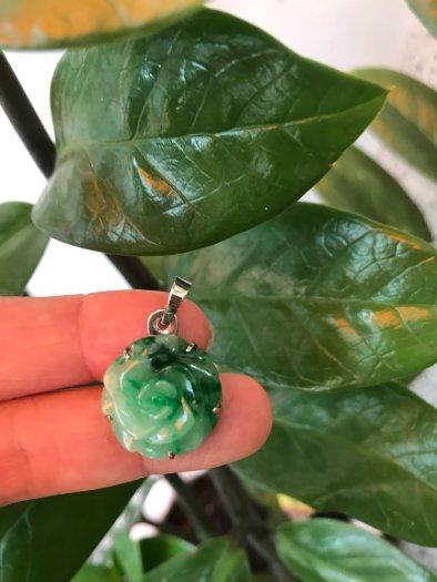 Mặt dây chuyền bông hồng nổi 100% đá cẩm thạch tự nhiên size 19mm x 9mm màu xanh6
