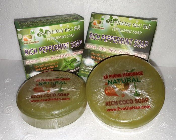 Sản xuất xà bông bạc hà dầu dừa nguyên chất Rich Peppermint Soap , cung cấp xà bong organic sỉ Gọi 0975603004 - Mr Sơn