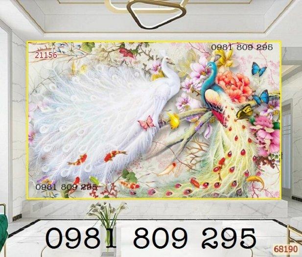 Gạch trang trí 3d - chim công - tranh gạch men1