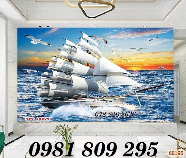 Tranh gạch trang trí - thuyền buồm 3d - gạch tranh0