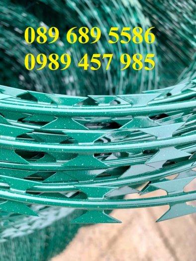 Đại lý bán dây thép gai hình dao, Chuyên dây kẽm gai bọc nhựa mầu xanh bùng nhùng1