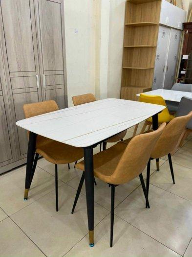 Bộ bàn ăn mặt đá cẩm thạch cao cấp + 4 ghế Loft1