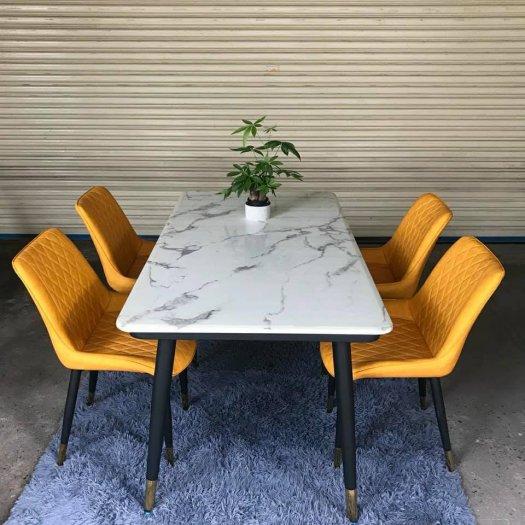 Bộ bàn ăn mặt đá cẩm thạch cao cấp + 4 ghế Loft0