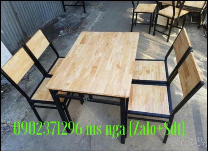 Bàn ghế gỗ cố định khung sắt quán nhậu0