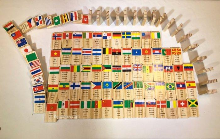 Domino 100 cờ quốc gia bằng gỗ | Domino xếp ngã sáng tạo5