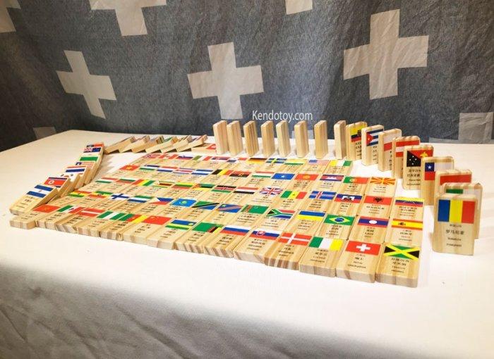 Domino 100 cờ quốc gia bằng gỗ | Domino xếp ngã sáng tạo4