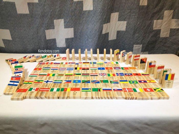 Domino 100 cờ quốc gia bằng gỗ | Domino xếp ngã sáng tạo3