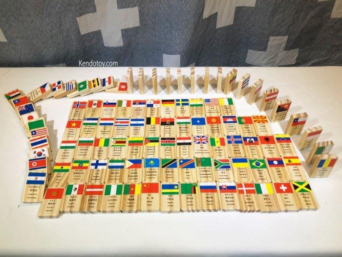 Domino 100 cờ quốc gia bằng gỗ | Domino xếp ngã sáng tạo2
