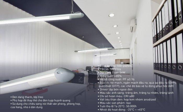 Đèn led thanh treo Oval 36W cho văn phòng2