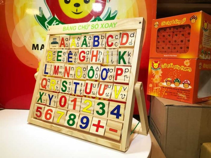 Combo bảng chữ Anh Việt khung xoay dính liền bằng gỗ7
