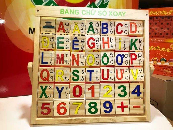 Combo bảng chữ Anh Việt khung xoay dính liền bằng gỗ6