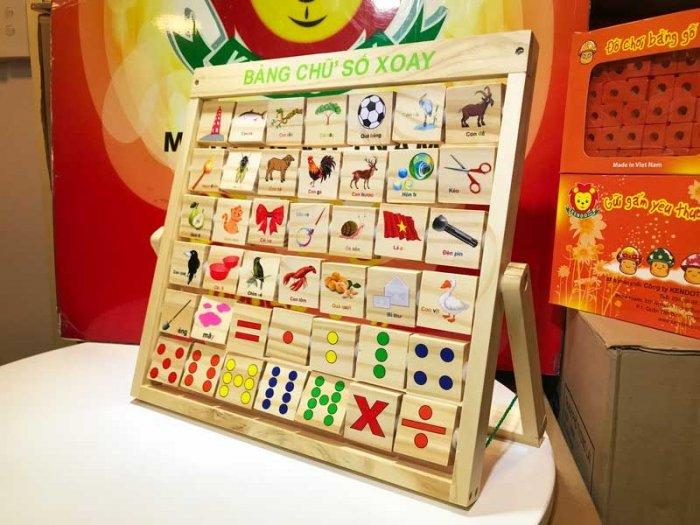 Combo bảng chữ Anh Việt khung xoay dính liền bằng gỗ5