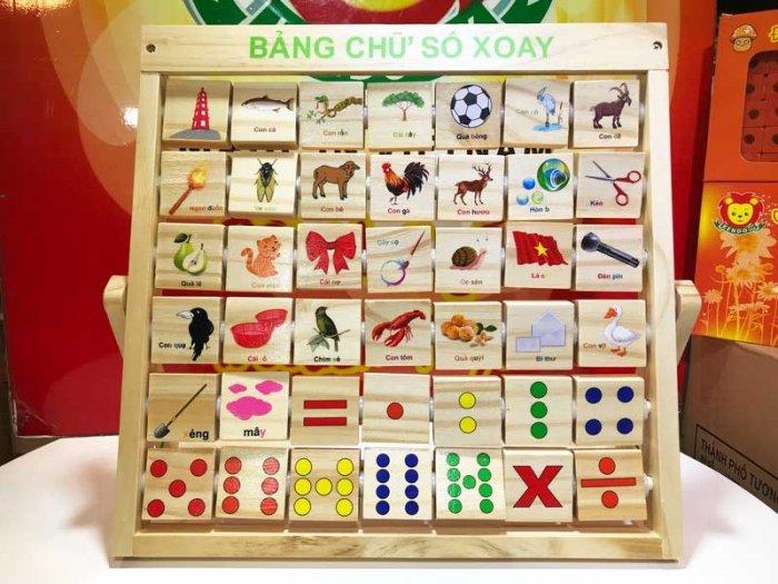 Combo bảng chữ Anh Việt khung xoay dính liền bằng gỗ4