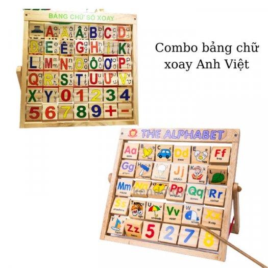 Combo bảng chữ Anh Việt khung xoay dính liền bằng gỗ3